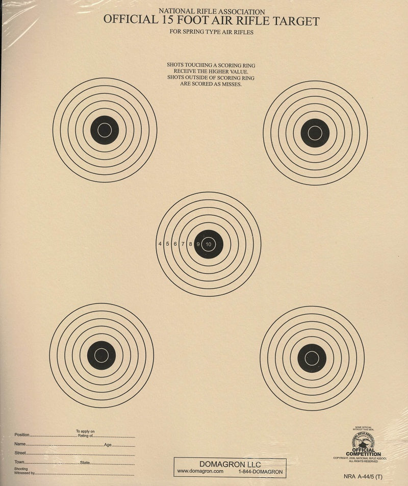 A-44/5 - 15 Foot Air Rifle Five Bulleye Official NRA Target - DOMAGRON