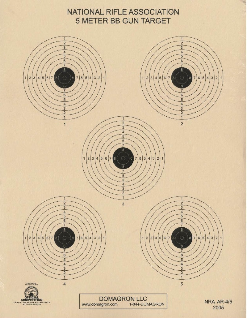 5 Meter Air Rifle Five Bulleye Official NRA Target (AR 4/5) Package of 50