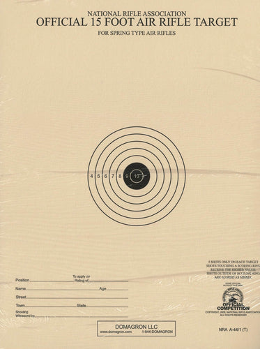 15 Foot Air Rifle Single Bulleye Official NRA Target (A 44/1) Package of 100