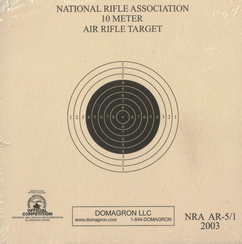 AR-5/1 - 10 Meter (33ft.) Air Rifle Single Bulleye Official NRA Target (Pack of 100) - DOMAGRON