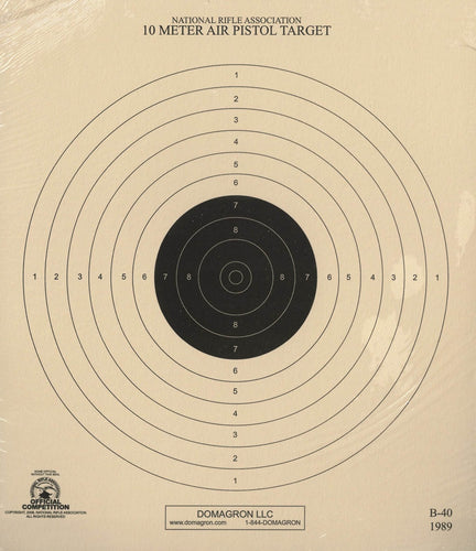 B-40/1 - 10 Meter (33 Ft.) Air Pistol Single Bullseye Official NRA Target - DOMAGRON