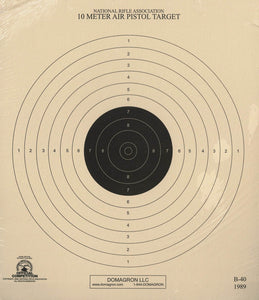 10 Meter (33 Ft.) Air Pistol Single Bullseye Official NRA Target - B-40/1 (50 Pack)