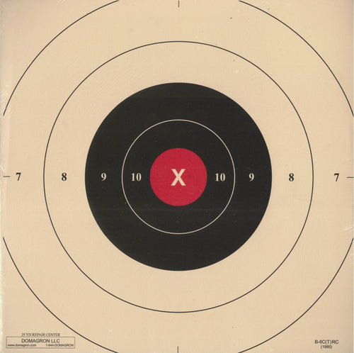 B-8C - Red Repair Center for the 25 Yard Timed and Rapid Fire B-8 Pistol Target - DOMAGRON