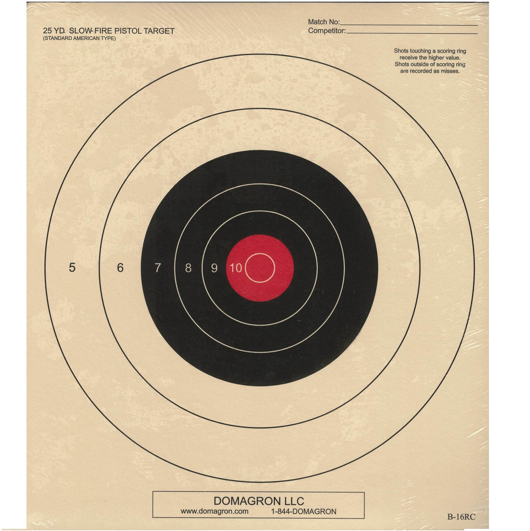 B-16 - 25 Yard Slow Fire Pistol Target Red Center Variant of the Official NRA Target - DOMAGRON