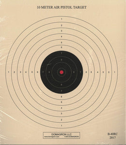 10 Meter (33 Ft.) Air Pistol Single Bullseye Red Center Variant - B-40/1 (100 Pack)