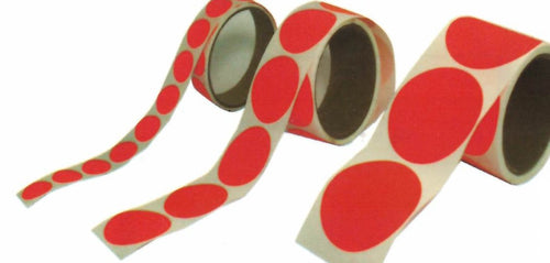 Dayglo Red Self-Adhesive Circle Pasters - 125 per roll - DOMAGRON