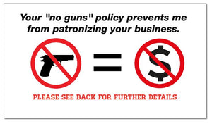 """No Gun Zone"" Business Card Handout (Pack of 100) - DOMAGRON"
