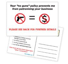 """No Gun Zone"" Postcard for Mailing (Pack of 100) - DOMAGRON"
