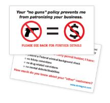"Load image into Gallery viewer, ""No Gun Zone"" Business Card Handout (Pack of 100) - DOMAGRON"