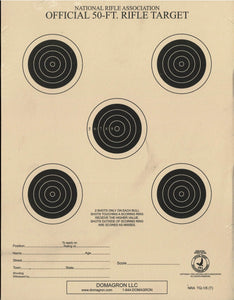 50 Foot Small Bore Five Bullseye Official NRA Target - TQ-1/5(T) - 100 Pack