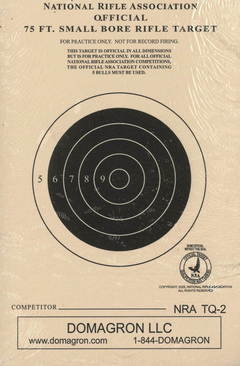 75 Foot Smallbore Rifle Target Official NRA Target TQ-2 (100 Pack)