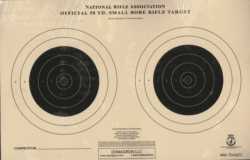 Official 50 Yard Small Bore NRA Competition Target Rifle Target (TQ-3/2) - 100 Pack