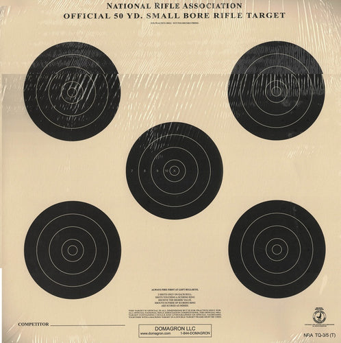 Smallbore Rifle Target - 5 Bullseye - Officiial NRA Target TQ-3/5 on Tag (100 Pack)