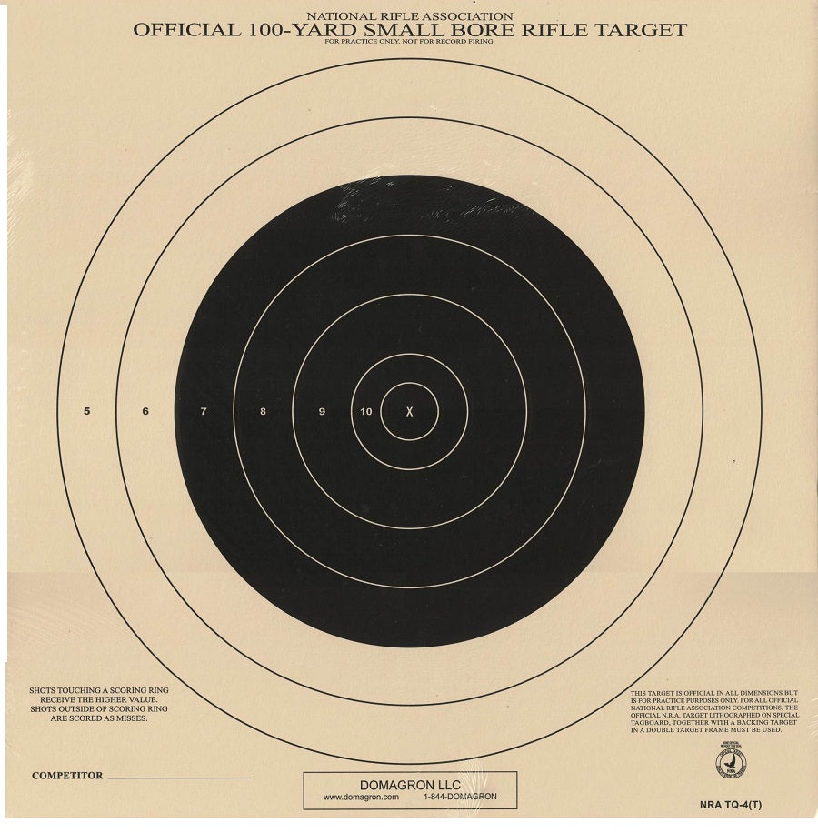 100 Yard Small Bore Rifle Competition NRA Target TQ-4 - 100 Pack