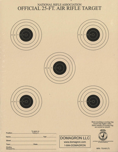 TQ-5/5 - 25 Foot Air Rifle / BB Gun Target Official NRA Target (Pack of 100) - DOMAGRON