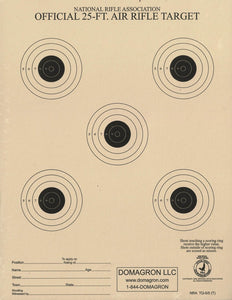 25 Foot Air Rifle / BB Gun Target Official NRA Target TQ-5/5 (100 Pack)