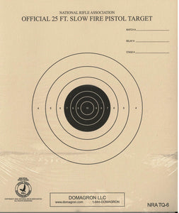 TQ-6 - 25 Foot Slow Fire Pistol Target Official NRA Target - DOMAGRON