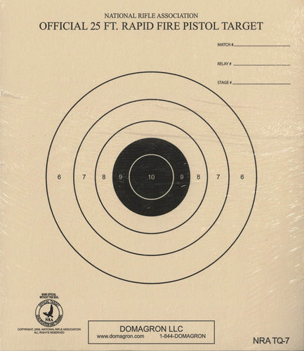 25 Foot Timed and Rapid Fire Pistol Target Official NRA Target TQ-7 (Pack of 100)