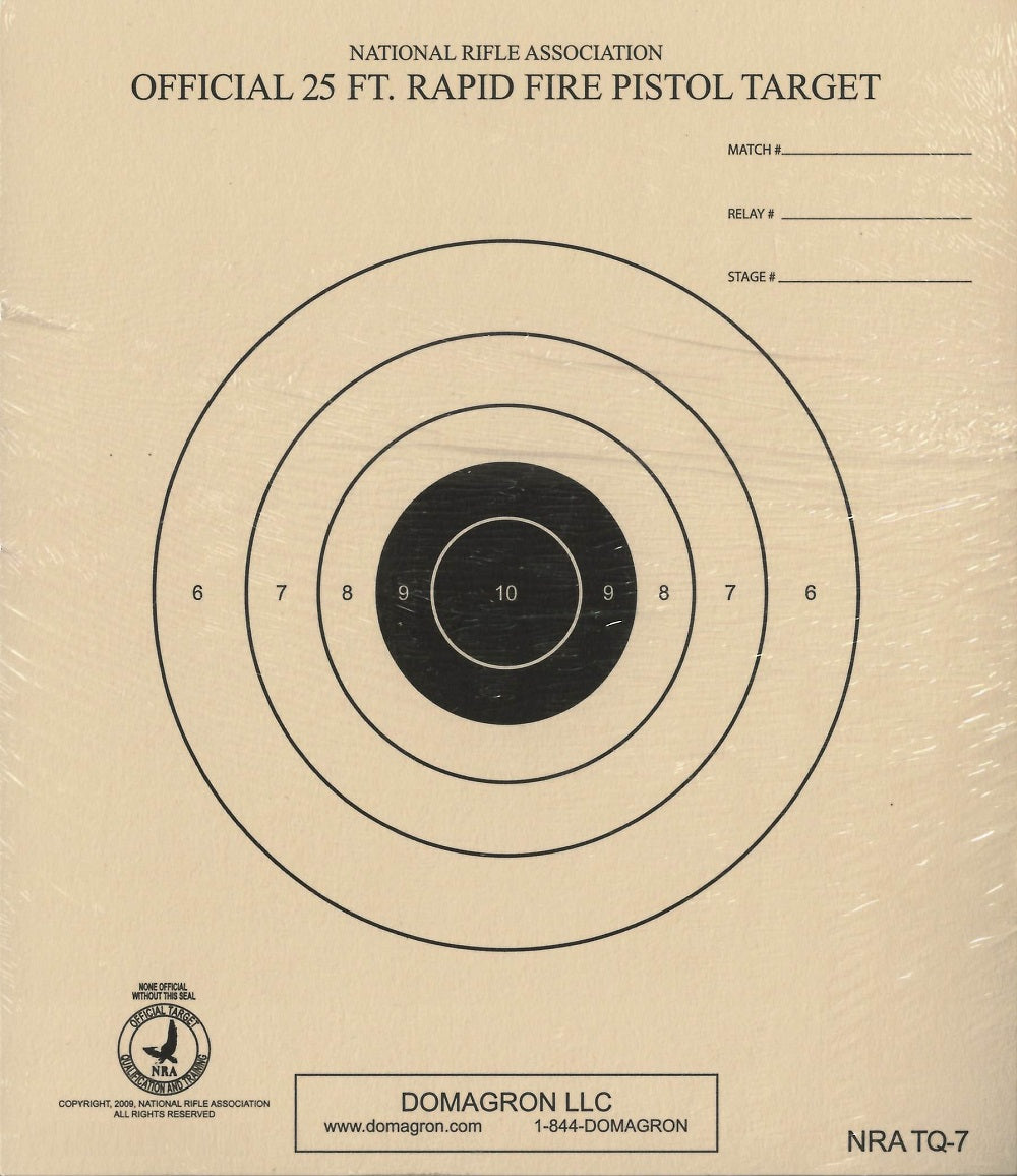 TQ-7 - 25 Foot Timed and Rapid Fire Pistol Target Official NRA Target - DOMAGRON