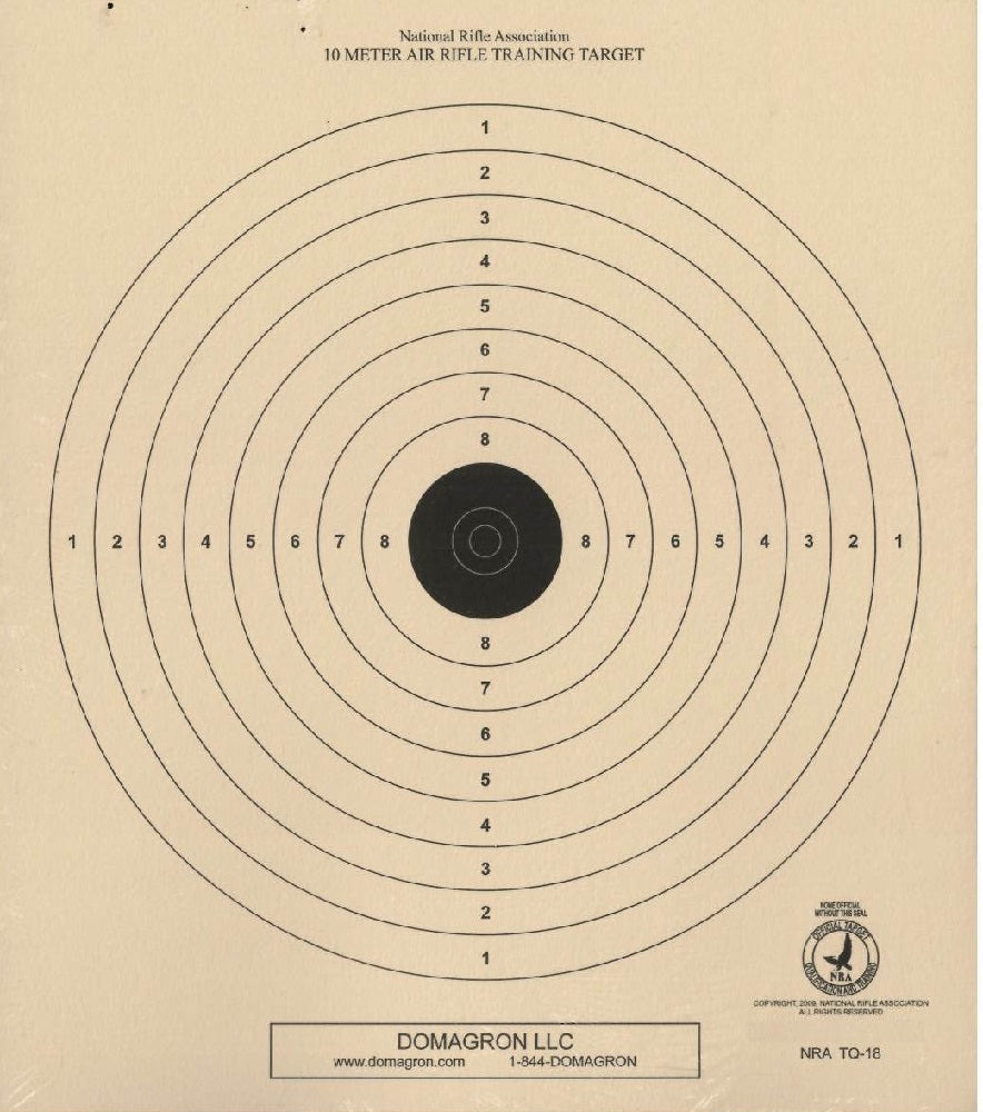 TQ-18 - Air Rifle (BB Gun) Target - 10 Meter Range Official NRA Target (Pack of 100) - DOMAGRON