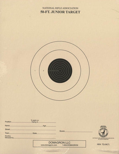 50 Foot Range Target- Officiial NRA Target TQ-36 on Tag (100 Pack)