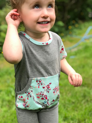 """Cherry Trees & Minty Skies"" Romper"