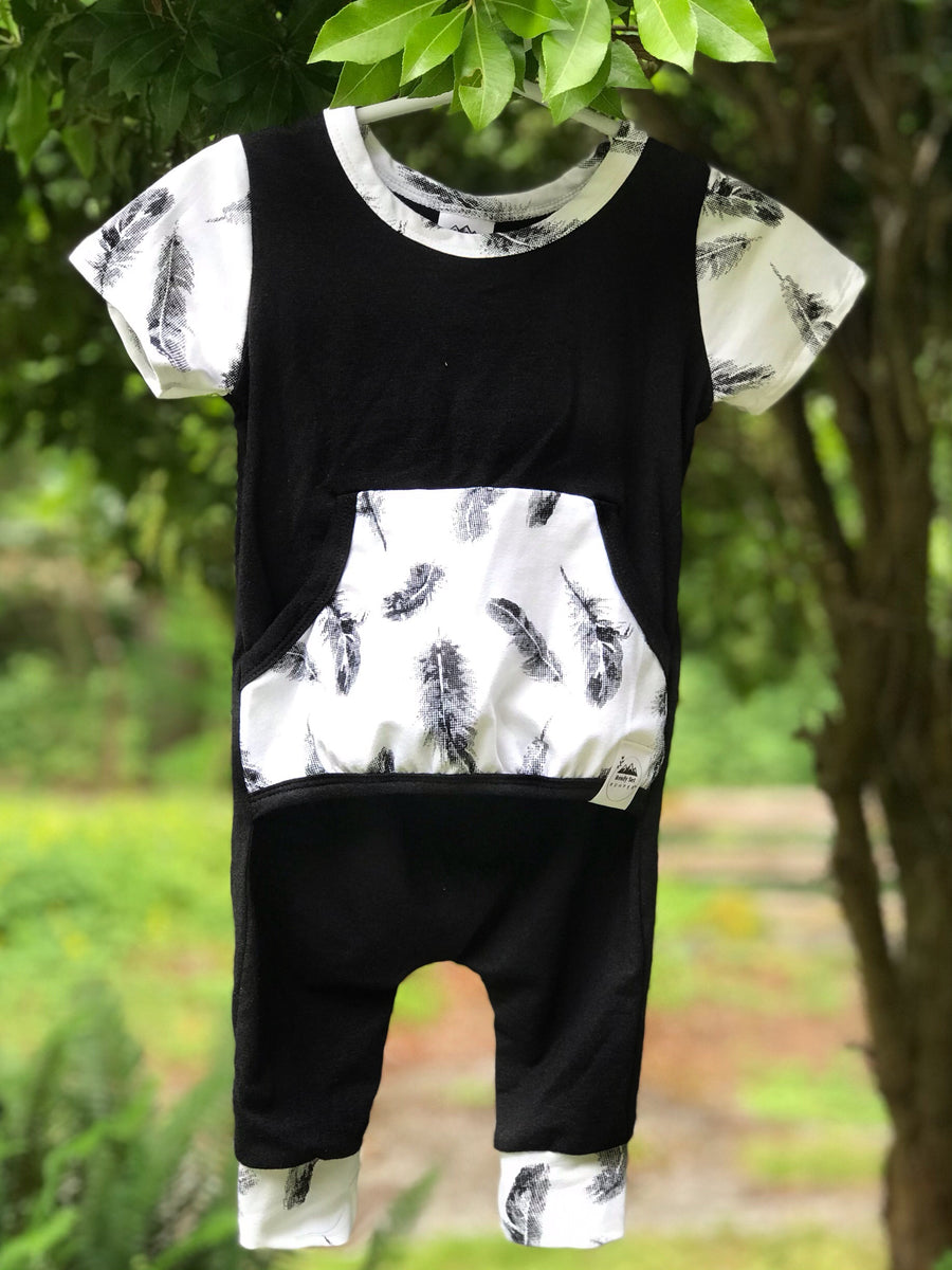 """Feathered Ebony"" Romper"