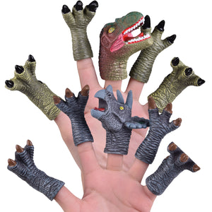 10 PCs Animal Bath Finger Puppets, Dinosaur Figure Finger Toys, Best Choice for Kids Party Favors, Treasure Box Prizes, Pinata Fillers and Goodie Bag Fillers (4604228894766)