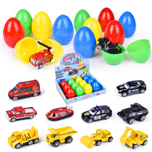 Diecast Cars Filled Easter Eggs with Assorted Pull Back Vehicles, Toy Car Easter Basket Stuffers for Kids Party Favors, Easter Eggs Hunt (4603550564398)