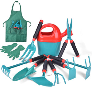 12 PCs Kids Gardening Tool Set, Outdoor Toys for Kids Includes Shovel, Fork, Rake, Gloves and Apron (4600568840238)