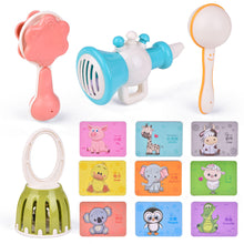 4Pcs Musical Instruments for Toddlers, Baby Music Set with Animal Cognitive Flash Cards, Interactive Educational Learning Toys (4601890897966)