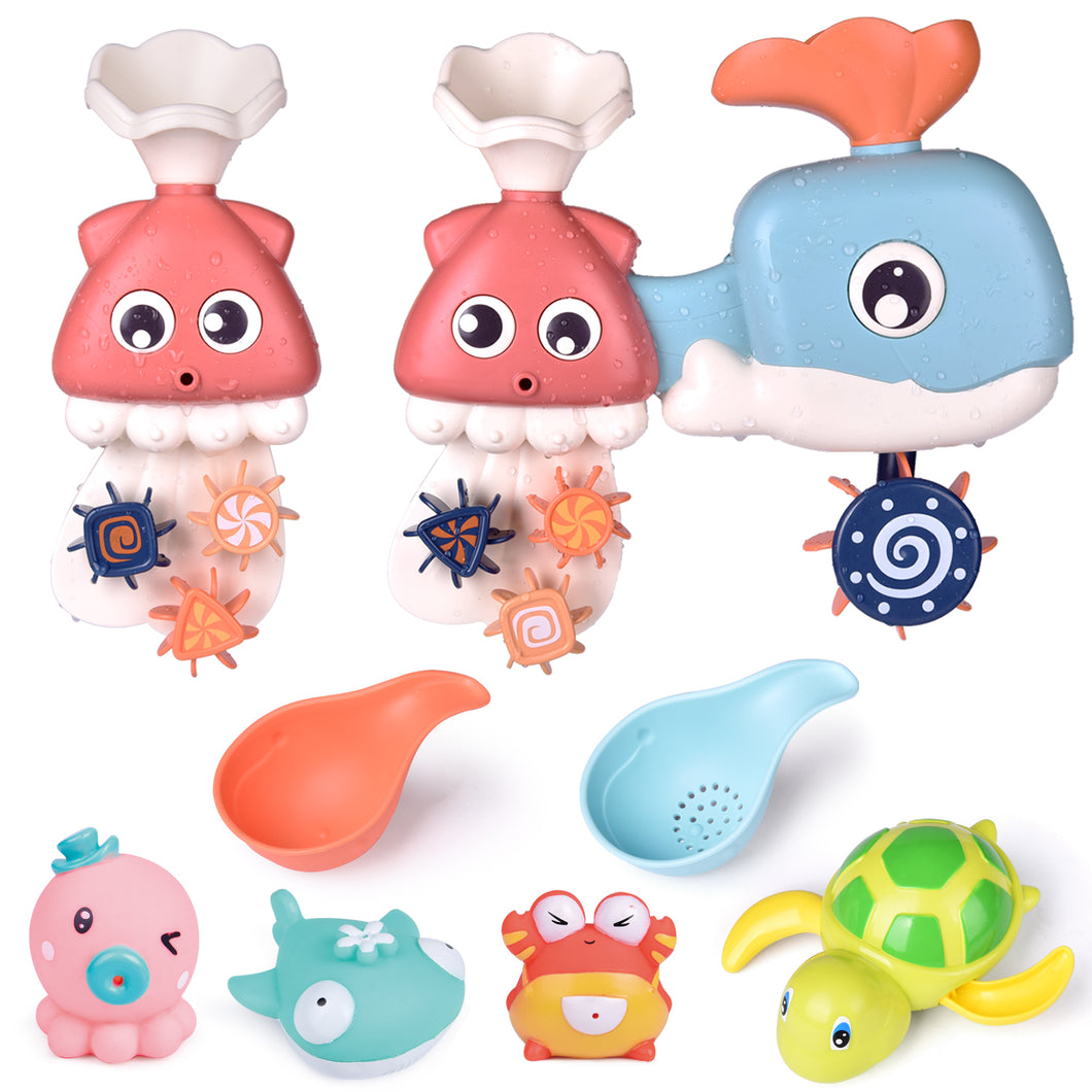 8 PCs Bath Toys for Toddler with Waterfall Station, Bath Squirters, Wind Up Bath Toy and Bath Cups, Birthday Gifts for Boys and Girls (4601188941870)