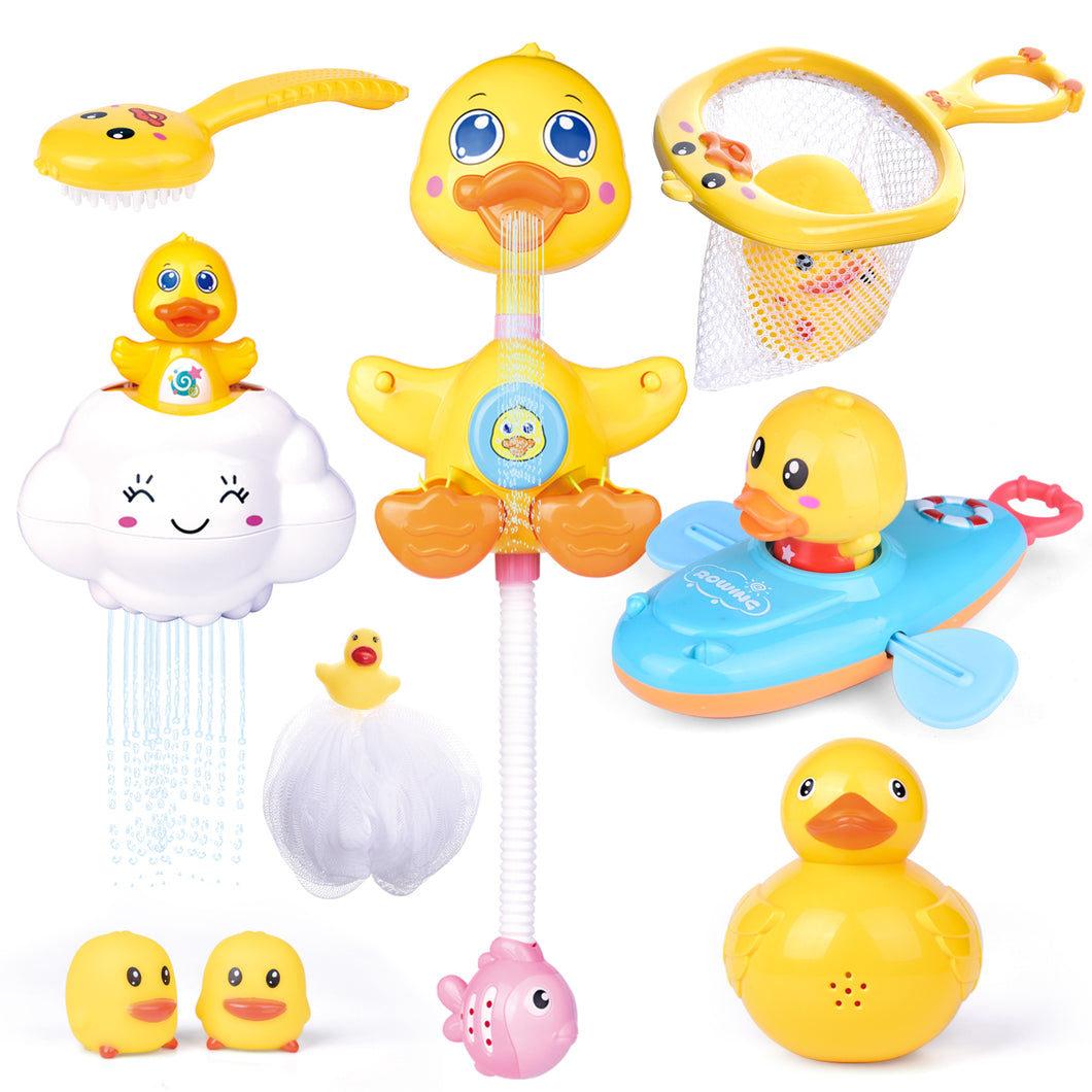 9 PCs Baby Bath Toys, Duck Spray Water Toy, Bath Squirters, Bath Boat, Fishing Net, Bathtub Toys for Kids, Best Gifts for Kids (4601191530542)
