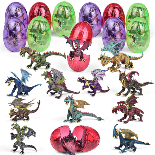 12 Pack Dragon Toys, Dragon Figure 3D Puzzles for Kids Party Favors Dragon Party Decorations, Goodie Bag Fillers and Kids Prizes (4603471134766)