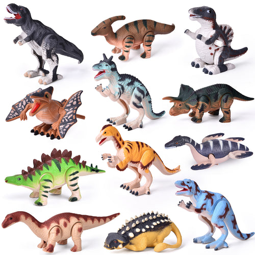 12 Pieces Assorted Wind Up Dinosaur Toys for Kids Party Favors, Mini Toy Dinosaur Figures for Kids Prizes, Birthday Party Supplies Toddler Toys, Goodie Bag Fillers (4603546468398)