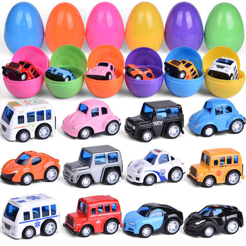 12 PCs Pull Back Die-cast Cars Toy Vehicles for Party Favors, Goodie Bags Fillers, Classroom Prizes, Pinata Fillers (4603552235566)