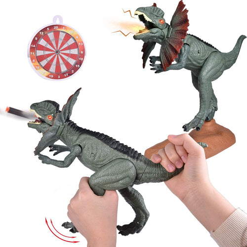 Dinosaur Toys with Soft Foam Darts, Realistic Toy Dinosaur Figure for Kids, Dilophosaurus Toy Gift for Boys and Girls with Roaring Sound and Light (4601919373358)