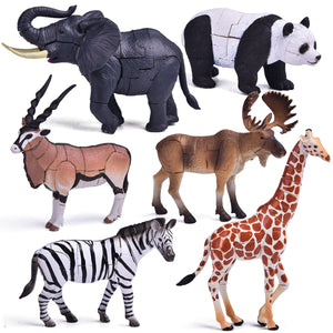 6 Pack Animal 3D Puzzles, Animal Figures, Kids Crafts Building Toy Figures for Birthday Party Favors, Kids Prizes, Googie Bags (4601882705966)