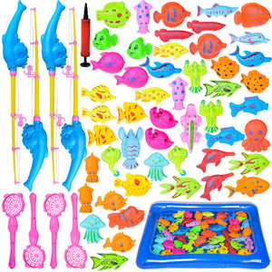 60 PCs Magnetic Fishing Toys with 22.8 in Fishing Pool, 4 Fishing Rodes, Toddler Bath Toys, Water Toys Fishing Game for Kids (4601129992238)