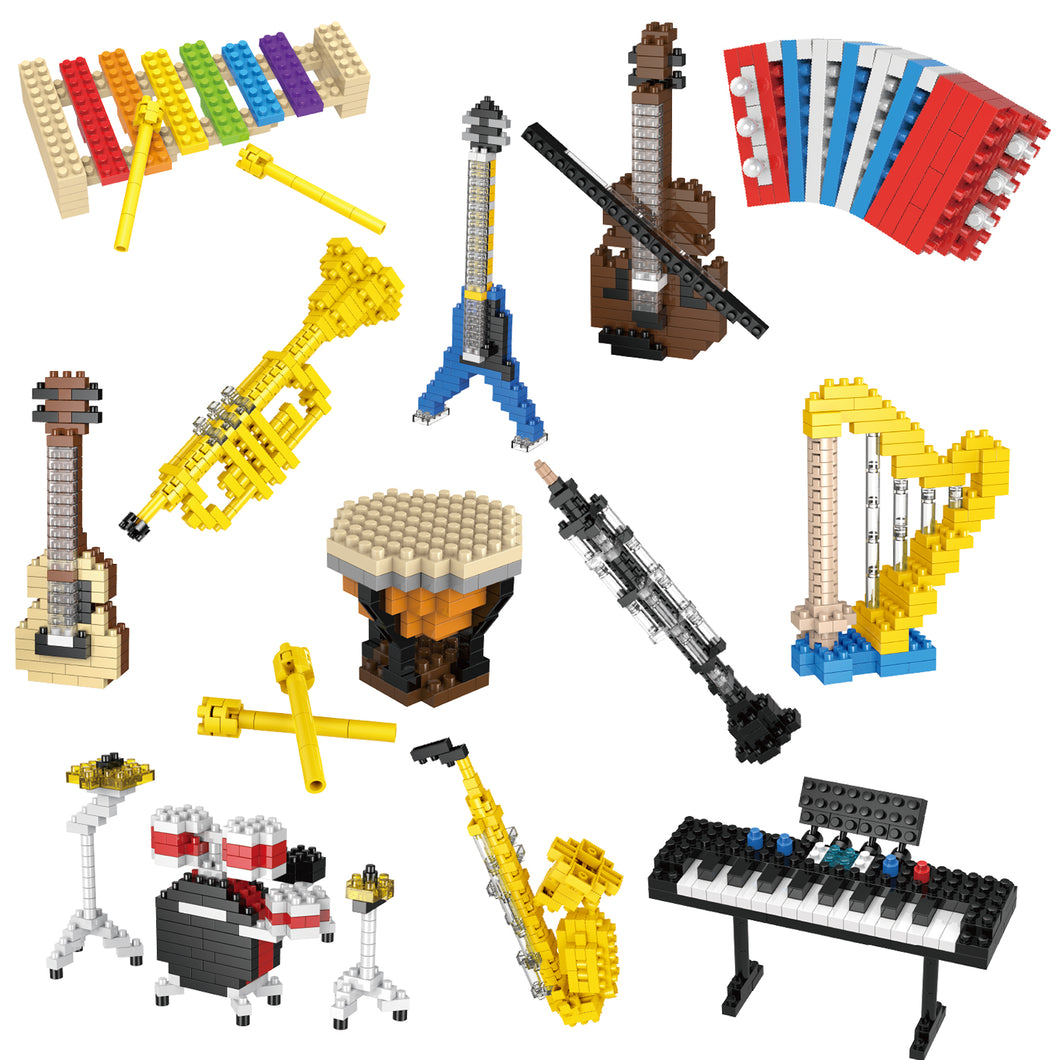 12 Boxes Mini Music Building Blocks, Musical Instruments Set Party Favors for Kids (4601231769646)