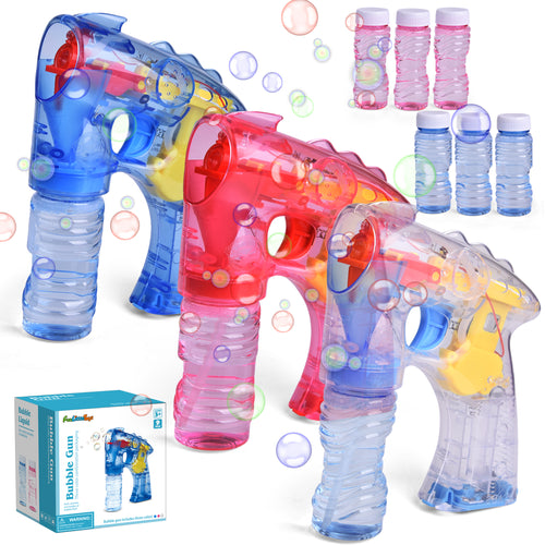 3 Bubble Guns with 6 Bottles Bubble Solution, Bubble Blower for Bubble Blaster Party Favors, Summer Toy, Outdoors Activity, Birthday Gift (Without Sound) (4600501829678)
