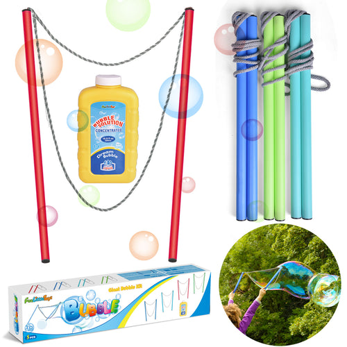4 Pack 17 Inch Giant Bubble Wands with Bubble Solution, Bubble Party Favorsfor Kids, Outdoor Toys Summer Activities (4600485019694)