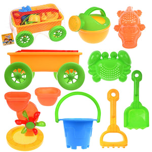 Beach Wagon Toys Set for Kids, Sand Toys Kids Outdoor Toys, Sandbox Toys Set with Big Sand Wagon and Other Beach Toys - 8 PCs (4600565399598)
