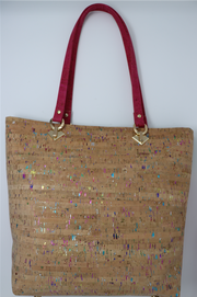 Pink & Green Multi-Color Cork Tote