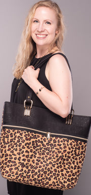 Animal Print and Black Cork Tote