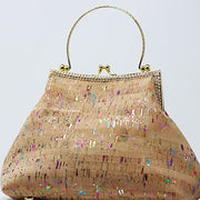 Pink Green Multi-Color Cork Handbag