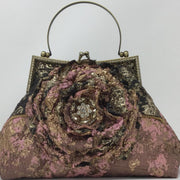 Embellished Metallic Pink, Black, and Gold Handbag