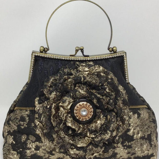 Black and Gold Metallic Flower Handbag