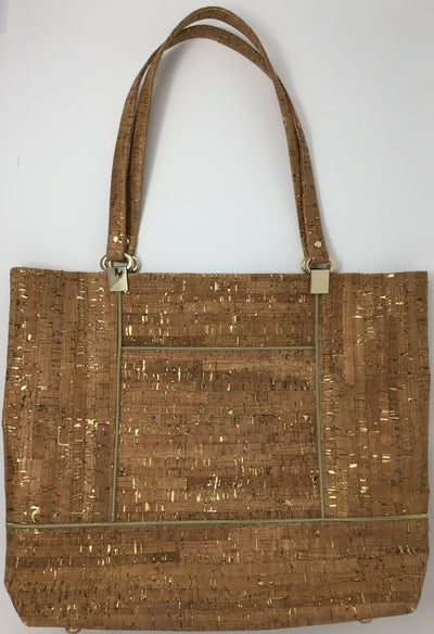 Natural Cork Tote with Gold Metallic Flecks