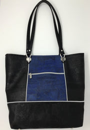 Black and Denim Blue Cork Tote